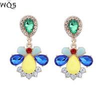 New 2014 fashion luxury shourouk jewelry earrings pink water drop crystal Stud earrings for woman