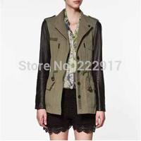 Leather Stitching Design Dark Green Frock Trench Woman Hunting Safari Desigual Coat Leather sleeves Sahara Drawstring Cardigans