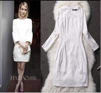 2014 Silk print autumn winter desigual women work wear casual dress  vestido bordados european bandage dress