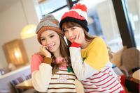 2014 hot sell  Ms. Winter spell color wool cap  Hand curling beard jacquard knit cap