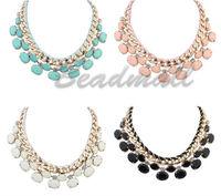 2014 Hot Fashion Women Girls Lady Chain Link Chunky Oval Geometry Necklace Bib Statement Choker Party Necklace