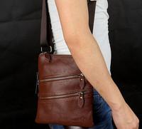Retro men's leather bag genuine leather women messenger bags shoulder bag fashion phone bags