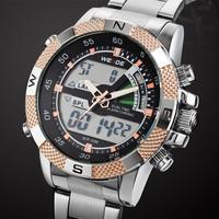 WEIDE Men Sports Watch Multi-function Military Watches New 2014 Brand Men's Japan Quartz Black Light  Design wristwatches (Gold)