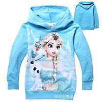 2014 new the frozen Ice and snow cartoon fleece hooded fleece leisure cartoon printing design Sweatshirts