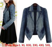 2014  Autumn New Fashion European Vest  Women Denim Jacket Lady Outerwear Slim Collar Denim Jacket Women Coat Plus Size L-5XL