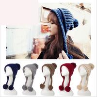 2014 HOT SELL Korean winter hat  Ms. little yarn knitted ear cap  Casual fashion warm hat