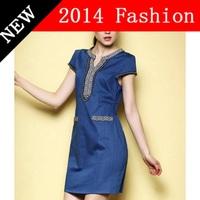 2014 New Summer Fashion women geometric print V neck jeans dress vintage mini elegant denim dresses  women's clothing 0914K
