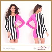 Free Shipping Plus Size Patchwork Bodycon Nine points Sleeve Women Dress Sexy Fashion