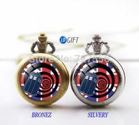 Free shipping Doctor Who tardis Pocket Watch Necklace, Dr who , tardis Pocket Watch necklace with box