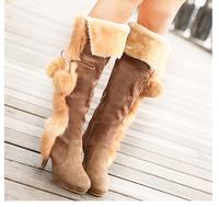 HOT Free shipping new women boots beautiful fashion Plush decor winter high-heeled knee boots women boots Black Brown