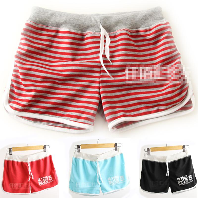Women Shorts Summer 2014 Casual Printed Beach Shorts Plus Size Women''s Sports Shorts Free Shipping Black Cotton Sport Shorts(China (Mainland))