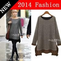 2014 New Autumn Fashion casual dress for fat women plus size XXXL xxxxl 4XL 5XL elegant dresses women's fall clothing 0914K