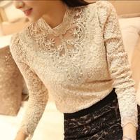 Blusas Femininas 2014 Women Blouse Ladies New Fashion Casual Long Sleeve Basic Chiffon Lace Shirt Plus Size XXL XXXL Top Blouses