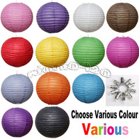 "10X 12"" round Chinese paper lanterns +10 Led Lights Wedding Party Floral Lamp Event decoration"