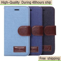 High Quality Cowboy Leather Flip Wallet Card Pouch Case For Apple iPhone 6 4.7 inch Free Shipping China Post Air Mail