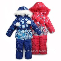 8715 [ Russian ] export the original single thick winter ski suit girls three sets of real fur collar Dandelion
