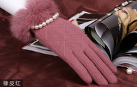 New hot autumn and winter warm cashmere gloves female thicker angora fashion pearl women girl party wool gloves Christmas gift