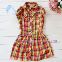 5pcs/lot(5-16Y) wholesale girls cotton plaid dress with ruffles in orange, girls cotton dress, checked dress for girls kids wear