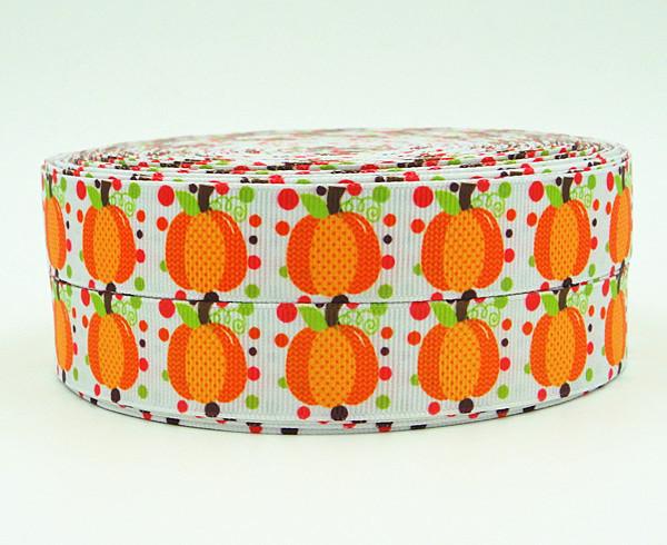 WM ribbon 7/8inch 22mm 140903014 Craft Thanksgiving Day Pumpkin Printed Pattern grosgrain ribbon 50yds/roll free shipping(China (Mainland))