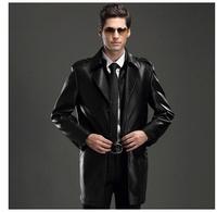 New fall and winter men fur coat  goatskin leather jacket lapel coat long coat