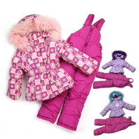 [ Russian ] export the original single thick winter ski suit girls three sets of real fur collar plaid flowers 8755
