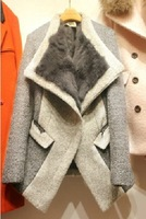 New Coming 2014 Fashion Winter Women Woolen Pea Coat Thick Jacket with Rabbit Fur Turn-down Collar Color Block S M L XL WJ1804