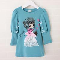 new 2014 children girl fashion autumn fall blue gray red cartoon print blue ruffle blouse top kids casual long sleeve t shirt