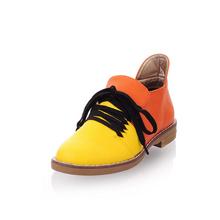 Pu de couro cores misturadas baixo sapatos de salto quadrado 2014 nova outono mulheres Lace up bombas moda Neutral mulher sapatos sapatos femininos(China (Mainland))