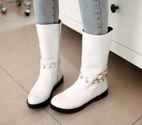 Free shipping 2014 new fashion women flats black white rivet sexy women shoes knee high long women boots autumn ladies