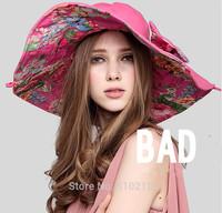 Both Sides Wear 2014 flower summer beach hat women bow uv protection womans sun hat uv  woman sun hat beach (about : 56-58cm)