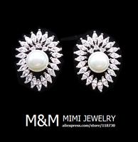 Luxury Sparkling AAA Cubic Zirconia Crystal Zircon and Pearl Stud Earrings Elegant Bridal Wedding Jewelry