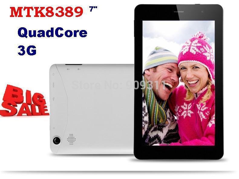 Sale 7inch MTK8389 Quad Core 3G Phone Call Tablet PC 1GB RAM GPS Bluetooth WCDMA WIFI HDMI(China (Mainland))