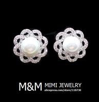 Luxury AAA Cubic Zirconia Crystal Zircon and Pearl Flower Stud Earrings Elegant Bridal Wedding Jewelry