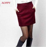 Winter woolen skirt package hip skirt female bust skirt plus size short pencil skirt