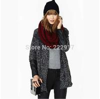 Dark Gray wool Blended Womans coats PU Leather Stitching Sleeves Overcoat Zipper Jacket Long Women Woolen coat Manteaux haoduoyi