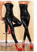 2014 New Arrival Sexy Sleeveless Catsuit Pvc Strapless Bodysuit Faux Leather Jumpsuit Latex Costume Stripper