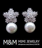 Luxury Micro Pave Setting AAA Cubic Zirconia Pearl and Crystal Zircon Snow Flower Stud Earrings Elegant Bridal Wedding Jewelry