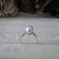 WINN Pearl Ring 14Kt Gold Filled Rings for Women 8-9 mm White luster Freshwater Pearl Engagement Rings