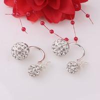 Fashion Hot Selling Earrings Double Sided Shining Crystal 925 Sterling Hook Ear Stud Earring For Women Jewelry Free Shipping