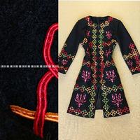 Famous Brand Runway Woolen Long Trench Coat For Winter New 2014 Women's Plus Size XXL Full Sleeve Fancy Embroidery Wool Overcoat