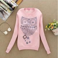 [Alice] Offset printing big Owl cotton hoodies women long sleeve o neck fleece warm sweatshirt 4 color S36 free shipping