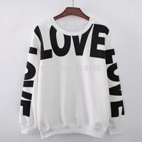 [Alice] 2014 New women hoodie long sleeve o neck letter Love casual cotton hoodies womens fleece sweatshirts 2 colors 909C