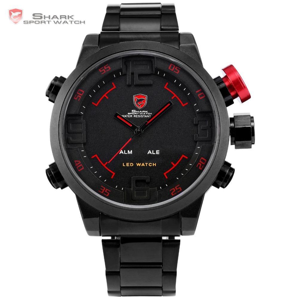 SHARK Analog Digital LED Stainless Full Steel Black Red Date Day Alarm Men's Sports Outdoor Quartz Wrist Military Watch / SH105(China (Mainland))