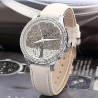 New 2014 Woman Fashion Watch SKONE Brand Clock Genuine Leather Watch Imitation Diamond Watch Tree Design Dress watch