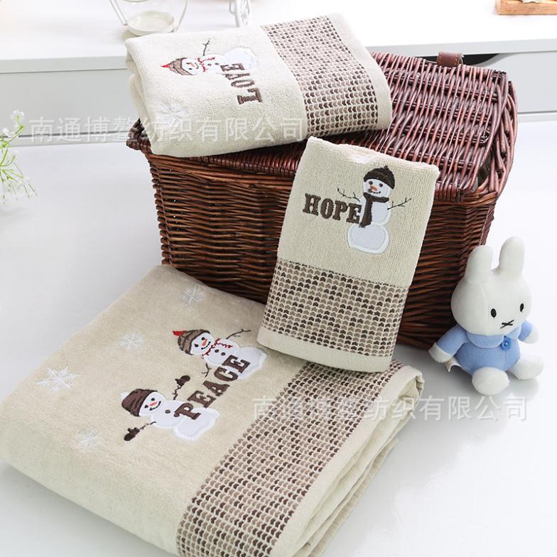 Free Shipping!!Hot satin diamond lattice American original single large towel embroidery towel snowman piece suit(China (Mainland))
