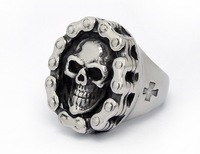2014 high quality punk style fashion  vintage silver 316L stainless steel exaggerate skull finger rings jewelry for cool men