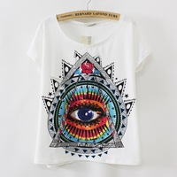[SEKKES] NEW Eye Printed Cotton T shirt Women Batwing Sleeve Loose Summer Casual T-shirt