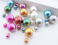 2014 New fashion brand women's pearl candy piercing statement wedding shining pearl color double faced sided pearl stud earrings