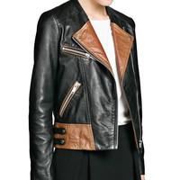 FS2857 New Winter Fashion Patchwork PU Leather Long Sleeve Jacket Coat