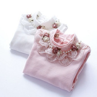 new 2014 children girl autumn winter fashion pink white turtleneck lace flower pearl base t shirt top kid casual t-shirt clothes